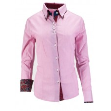 Double Collar Button Pin Stripe Fitted Show Shirt - 68224