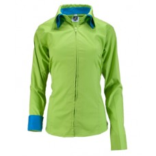 Double Collar Zip Up Fitted Show Shirt w/Solid Trim - 682221