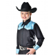 Black & Turquoise Yoke Show Shirt