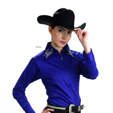 Rhinestone Zip Up Fitted Shirt - 68228