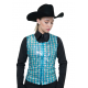 Sheer Turquoise and Silver Sequin Show Vest - V209967