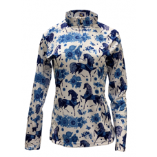 Easy Care Blue Horse w/Flowers Sun Shirt - 68411