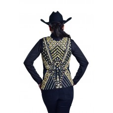 Carly Hand Embroidered Gold Rhinestone Show Vest - V209999