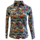 Graffiti Print Easy Care Concealed Zip n Button Up Youth Show Shirt - 38297