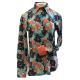 Concealed Zipper Vintage Flower w/Button Placket Show Shirt - 70007