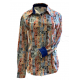 Print Button Tanor Abstract Pattern Show Shirt - 68540