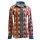 Print Asbtract Button Show Shirt - 70005